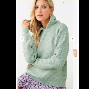 Forever 21 Mint Green Hooded Sweater